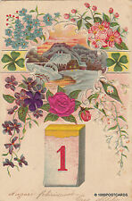 * HAPPY NEW YEAR - Calendar, Flowers and View in relief 1903 Manduria-Napoli