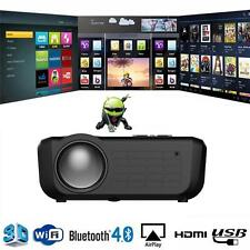 Android 5.1 Smart LED Projector 3D WiFi Home Cinema HD 1080P HDMI USB BT TV H6Q7