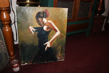 Stunning Oil Painting-Female Spanish Flamenco Dancer-Signed-Lifelike Painting