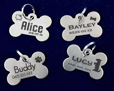 PERSONALISED LASER ENGRAVED PET DOG CAT ID TAG BONE STAINLESS STEEL INCLUDE RING