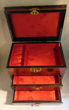 Asian Design Jewelry Box 2 Drawers Orange Flower Gold Closure Top Lift Red Lined