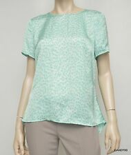 Nwt $79 Michael Kors Hi Low Short Sleeve Blouse Tunic Shirt Top Aqua M