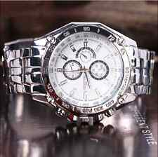 Stainless Steel New Men's Sport Wrist Watch Quartz Analog Watches Gift White New