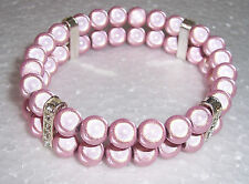 Pink Miracle Bead Bracelet Double Row - Diamante Spacers - Handmade
