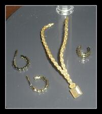 JEWELRY LOT MATTEL BARBIE DOLL GLAM LUXE GOLD PLASTIC EARRINGS BRACELET NECKLACE