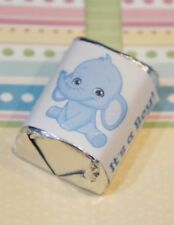60 Baby Shower It's a Boy Blue Elephant Hershey Candy Nugget Wrappers Stickers