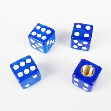 4pcs Blue Dice Bike Tire Car Truck  air Valve Stem Caps Wheel Rims Universal