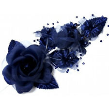 "3 navy blue Silk Pearl & organza flower  Corsages 5""x 2.5 with pearl pin"