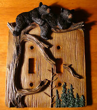 BLACK BEAR CUB DOUBLE TOGGLE LIGHT SWITCH WALL PLATE COVER Cabin Lodge Decor NEW