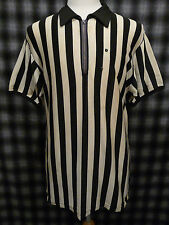 Vtg 50s Rayon Basketball Football Referee Jersey Athletic Supply Stripe Shirt XL