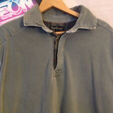 Barbour Men's Distressed Heavy Cotton Patch Elbow Long Sleeve Polo Size XL