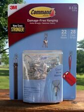 NEW 3M 22 Wire Hooks/28 Clear Strips Command Damage-Free Hanging Small, 0.5 lb
