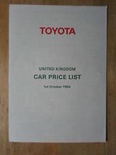Toyota Gama 1984 Uk Mkt lista de precios Folleto-Land Cruiser Celica Camry Etc