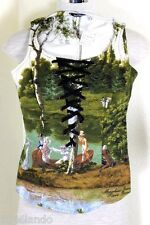 Vintage MOSCHINO Photographic Scenery Bustier Blouse Top Shirt Small 2 3 4