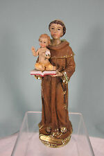 Roman Statue St. Anthony of Padua with Child Jesus 8 Polyresin Gold accents MIB