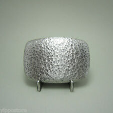 Silver Plated Hammer Forged Rectangle Metal Fashion Belt Buckle