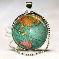 High Vintage Map Cabochon Glass Pendant Chaem With Ball Necklace Jewelry Gift