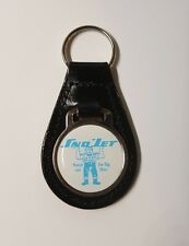 "Reproduction Vintage Sno Jet ""Big Blue"" Medallion Style Leather Keychain"