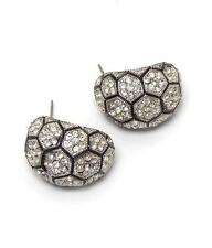 G10 Pave Crystal Arch EARRINGS Silver Tone Beehive Honeycomb NEW
