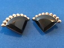 VINTAGE TAXCO MEXICO STERLING SILVER BLACK ONYX TRIANGLE CLIP-ON EARRINGS