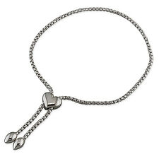 925 argento Sterling-SERPENTE CATENA CON CUORE SCORREVOLE beads-7.5 in-free SCATOLA REGALO