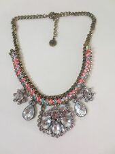 American Eage Outfitters AEO Pink Ble Ribbon Cyrstal Statement Necklace NIP $59.