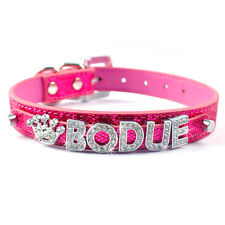 Didog Bling Personalized Leather Dog Collars Custom Free Name Rhinestone Letters