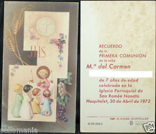 OLD FIRST COMMUNION REMEMBRANCE HOLY CARD YEAR 1972 ANDACHTSBILD SANTINI   C1063