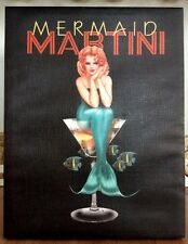 "Ralph Burch ""Mermaid Martini"" Redhead Pin-up 15.5""x19.5"" Stretched Canvas Giclee"