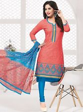 Radiant Cotton Embroidered Dress Material With Chiffon Dupatta D.No PH9280