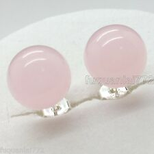Natural Rose Quartz W. Gemstone Sterling Silver Stud Earrings S925