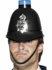 Unisex Mens Police Helmet Flashing Light Hat Emergency Fancy Dress Fun Accessory
