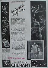 PUBLICITE CHERAMY EAU DE COLOGNE OFFRANDE CAPPI ROSE FAUSTA FLEURS DE 1928 AD