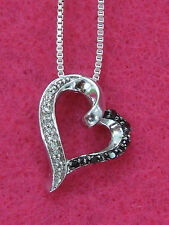 Kay Jewelers 10K WG Artistry Black & White Diamonds Heart Pendant Free 925 Chain