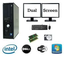 Dell Dual Core 8GB RAM 1TB HDD WINDOWS 7 DESKTOP PC Computer DUAL SCREEN Bundle