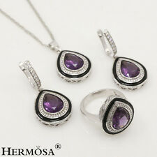 75% OFF Turkish NEW 925K Sterling Silver Amethyst Necklace Earring RING Set Sz.8