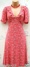 SIZE 8 10 40s VINTAGE WW2 LANDGIRL STYLE CHERRY PRINT TEA DRESS ~ US 6 EU 36 38