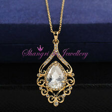 Vintage STL 18K GOLD GF 4.0ct PEAR Princess NECKLACE SWAROVSKI Lab DIAMOND X4111