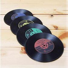 Retro 2Pcs CD Records Shape Kitchen Party Bar Cup Mat Placemat Silicone Coaster