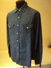 "Wrangler ~ blue denim western shirt pearl snap buttoned ~ 16"" neck ~ 42"" chest"
