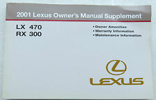 2001 Lexus LX470 & RX300 Owner's Manual Supplement Factory Book - Warranty Nice