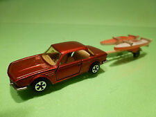 MAJORETTE 235 BMW 3.0 CSI + BOAT TRAILER - RED 1:60 - RARE SELTEN - GOOD