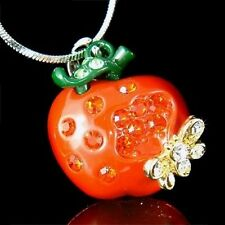 w Swarovski Crystal 3D Juicy Hot Red ~APPLE bumble bee~ beetle pendant Necklace