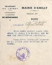GUERRE 39/45 ORDRE DE REQUISITION D'UNE VACHE MAIRIE AMILLY ( LOIRET )