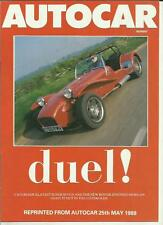 CATERHAM SUPER SEVEN VERSUS MORGAN ROAD TEST AUTOCAR REPRINT 'BROCHURE' MAY 1988