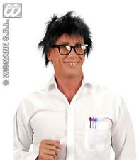 Messy Hair Black Geek Wig School Disco Boy Teenager Fancy Dress