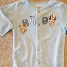 ADORABLE! CARTER'S 3 MONTH TERRY CLOTH I LOVE HUGS FOOTED SLEEP N PLAY OUTFIT