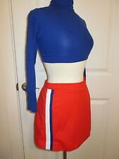"Cheerleader Uniform Outfit Cheerleading Blue Crop Top 32"" Orange Skirt 28"" CHEER"