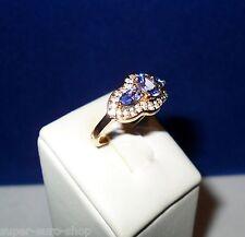 Ring Gelbgold GG 375 Tansanite und Saphire gesamt 2,13 ct  Harry Ivens IV Gr 17