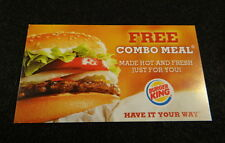 (20) Burger King Free Combo Meal Cards / Vouchers / Certificates